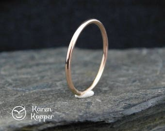 Smooth 14k Rose Gold filled ring, thin ring, 1.2mm ring, made at your size. Skinny ring, thin ring, stacking ring.