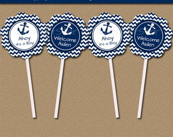 Nautical Baby Shower Cupcake Toppers, Ahoy Its a Boy, Nautical Its a Boy Instant Download, Nautical Baby Shower Decor, Baby Boy Shower N1