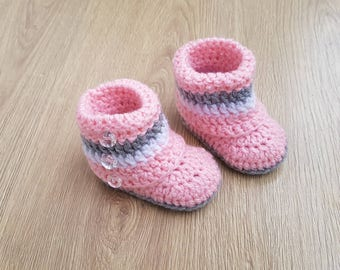 Crochet Baby Booties-Newborn Boots-Knit Socks-Pink/White/Gray-Baby Shower-Gift for Baby