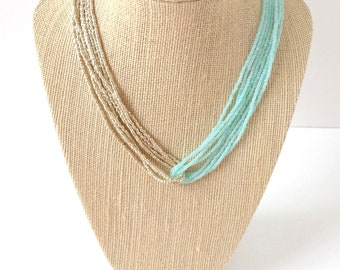 Mint necklace gold necklace retro necklace boho necklace aqua necklace beaded necklace,bridesmaid gifts,seed bead necklace,gift idea for her