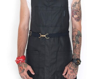 No-Tie Apron - Coated Void Black Denim - Black Leather - Split-Leg