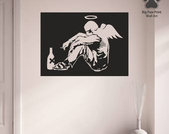 Banksy Wall Decal Fallen Angel Michael Vinyl Wall Art Sticker Decal Home Decor Living Room Bedroom Hallway Kitchen