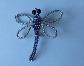 Dragonfly pin. Czech glass. Austrian crystal. Woven bead and wire