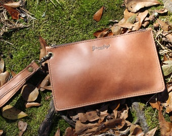 The Jane Wristlet - Leather Wristlet, Leather Clutch, Leather Clutch Bag, Clutch Bag, Clutch Purse, Handmade in Alabama