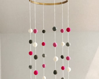 Felt Ball Cot Mobile - Pinks & Greys