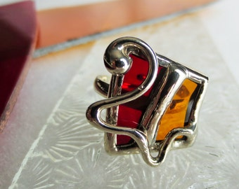 Stained glass red and yellow ring
