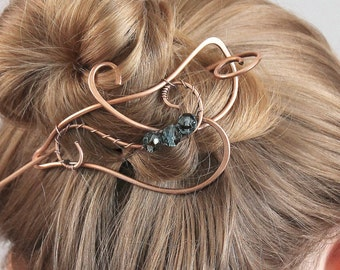 Copper Hair Slide for Women, Hair Accessory Handmade, Beaded Hair Slide, Large Hair Clip with Choice of Beads, Wire Art Hair Barrette
