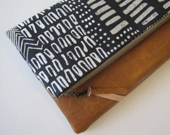 Foldover Clutch, Vegan Leather Clutch Bag, Black Tribal Clutch Purse, Ipad Kindle Case, Winter, Fall Clutch, Bridesmaid Gift, Gift for Her