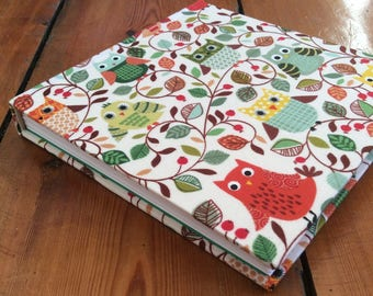 Square Sketchbook/fabric covered/gift for artist/cartridge paperdrawing book/owls/woodland theme/bookbindng