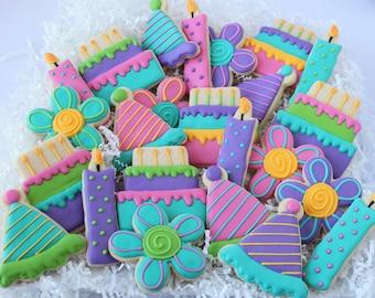 Birthday  Party Decorated Cookies, Cake Cookies, Party Cookies, Flower Cookies