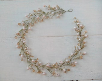 Beige boho wedding hair vine Bridal halo hairpiece Crystal headpiece Hair piece accessories Bridesmaid gift