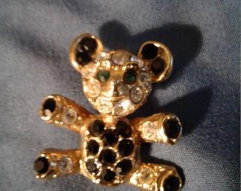 Bear pin with rhinestones
