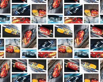 Cars 3, See You on the Track, Disney Cars Fabric, Lightning McQueen Fabric, Disney Car, Springs Creative, cotton quilting fabric -  YARD