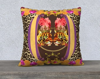 Large Frou Frou Tigers with Feathers Leopard Print Pillow Cover