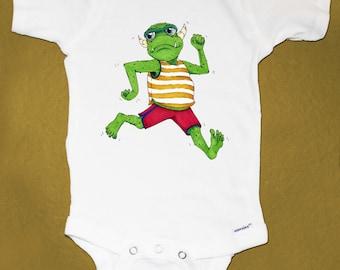 Adorable Baby Running Monster Unique Baby Onesie, Best Baby Shower Gift!