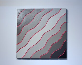 Shades of Grey 3 - original contemporary mixed media painting of wood and acrylic on canvas