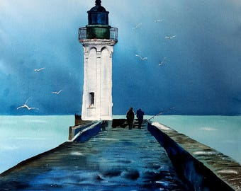 St. Valery lighthouse in caux watercolor 2