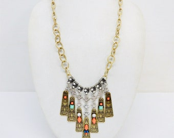 Vintage Tribal Themed Long Etched Multi Charm Pendants Necklace Acrylic Rhinestone Accents Coral Turquoise Boho Hippie Runway Statement