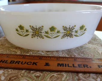 Vintage Fire King 1.5qt casserole dish #437 Meadow Green kitchen glass ware Anchor Hocking oven ware