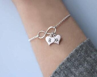 Personalized bracelet for women, Friendship Bracelet, Heart Bracelet, Bracelet with heart, Wedding gift, Bridesmaid gift, Silver bracelet.