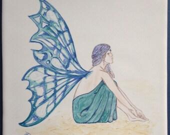 Turquoise Faerie design tile