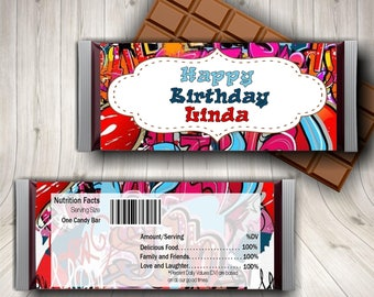 Graffiti Birthday, Graffiti Party, Candy Bar Wrapper, Hip Hop Party, Tween Party, Dance Party Favor, Kids Hip Hop, Music Party,  Teen Party
