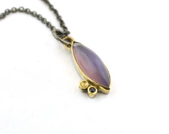 Periwinkle Blue Holley Blue Agate Pendant 18 Karat Gold Sterling Silver Nature Inspired Jewelry Lichen Necklace