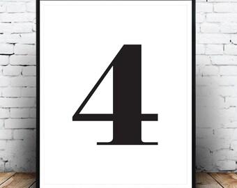 Number 4 Print, Typography Print, Monochrome Print, Affiche 4, Scandinavian, Black And White, Minimalist, Digital Download, Printable Art