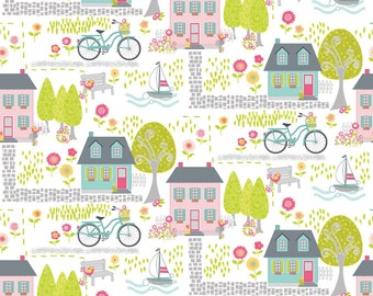 """Contempo Studio  """"Sunday Ride"""" by Cherry Guidry-   One Yard Cut - whysimcal town to tour on a bike fabric, bicycle fabric, house fabric."""