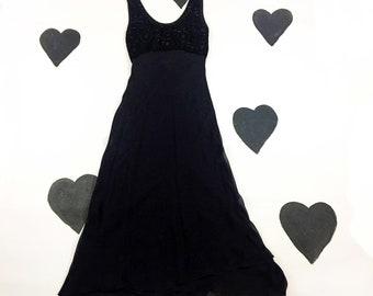 90's bias cut black beaded dress 1990's velvet daisy long slip dress gown / grunge / prom / hippie / sheer / festival / beaded / size S