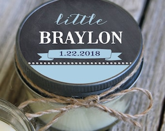Set of 12 - 4 oz Baby Shower Candle Favor - Soy - Personalized Baby Shower  Favors // Chalkboard Baby // Boy Baby Shower Favors