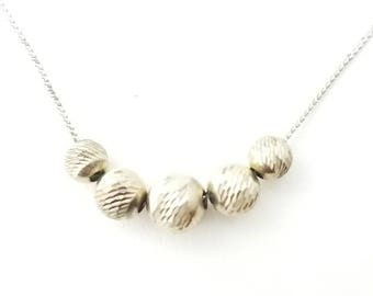 Vintage Sterling Silver Five Etched Movable Bead Necklace- 18 Inch Length Thin Serpentine Chain