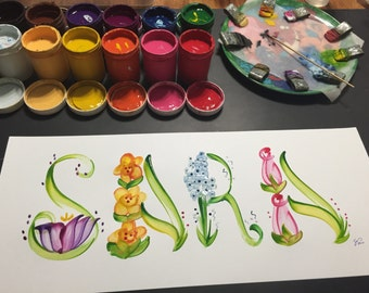 Floral/Flower/Butterfly Name Painting - Custom/Made to Order