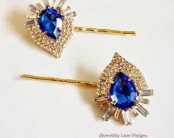 Sapphire Rhinestone Gold bobby Hair Pin Set