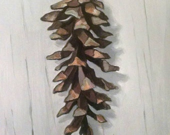 Original oil painting of a pine cone.  Oil on board (5x7). Unframed.