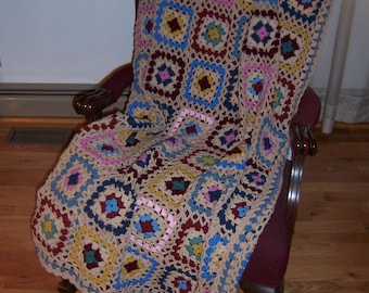 lacy granny -  afghan - throw - hand crocheted - country blue -Vintage-Ships  Free!!!