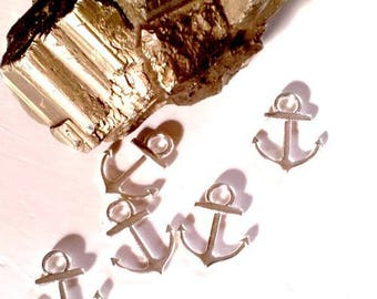 30 anchor Navy charms or connectors, silver, 19x14.5mm about