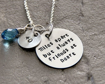Miles Apart But Close At Heart Necklace - Distance Gift - Side by Side Sister Necklace - Fourth Birthday - Milestone - Best Friend Necklace