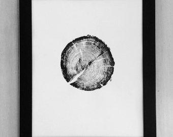 Grand Tetons Tree, National Parks tree art, Pine Tree Print, Wyoming Art, National Parks Art, Woodblock Tree Ring Print, Art from trees