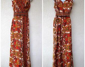 1960s PALAZZO JUMPSUIT. Wide Leg Pantsuit. Psychedelic Print . Wide Leg Jumpsuit. Mod Jumpsuit.Belted Jumpsuit. 1960s Maxi Dress. MOD. M
