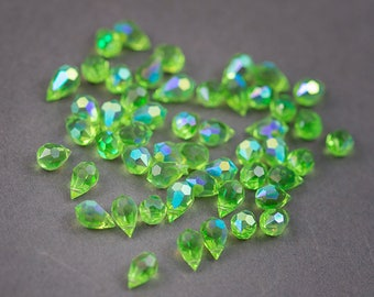 4 pcs - Bohemian crystal beads, faceted drops • light green transparent 10mm x 5mm