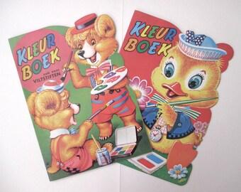 Vintage children's coloring books set of two unused die cut borders
