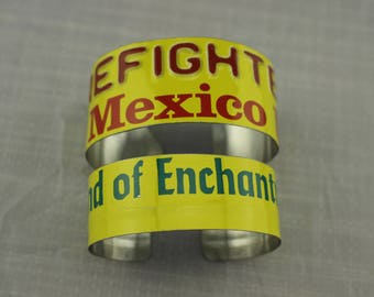 New Mexico Firefighter License Plate Bracelet Industrial Cuff Machine Age MEN Women Jewelry Metal saftey Land of Enchantment Fire fighter