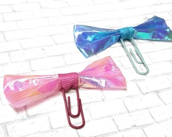 Blue and Pink Holo Bow Clips - Tattered Bow Planner Clips - Glam Accessories - Cute Paper Clip - Bookmark - School Supplies - EmpressAnimal
