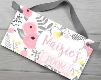 Pink Yellow and Grey Flower Garden  DOOR SIGN Girls Flower Bedroom Nursery Wall Art Decor DS0506