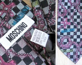 MOSCHINO Tie Silk Tie Checkered Tie Necktie