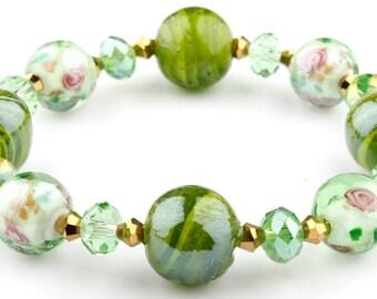 Green Floral Murano Glass Beaded Stretch Fashion Bracelet