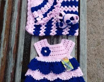 crochet baby dress with blanket,crochet baby set with blanket