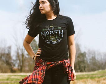 Up North Cabin Triblend Black Unisex T-shirt. Outdoors, adventure, camping, nature shirt. Slim fit for men and women. Midwest, USA.