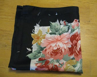 Floral Silk Scarf Vintage Scarves Pink Roses Scarf Free shipping usa